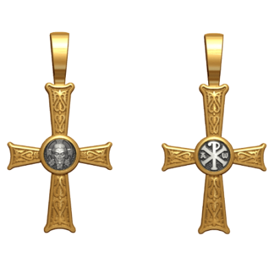 """Позолоченный крест """"Спас Нерукотворный. Хризма"""" 17.002"""